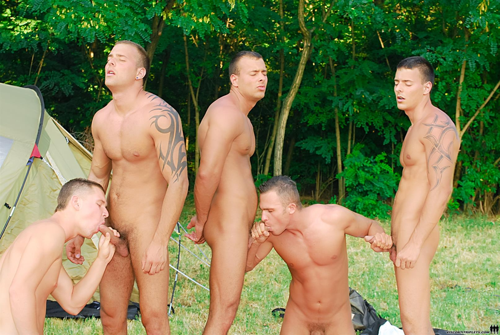 Visconti-Triplets-Jason-Visconti-Jimmy-Visconti-Joey-Visconti-Giuseppe-Pardi-Fucking-During-A-Camping-Trip-Amateur-Gay-Porn-09 Visconti Triplets Tag Team Some Muscle Ass While Camping