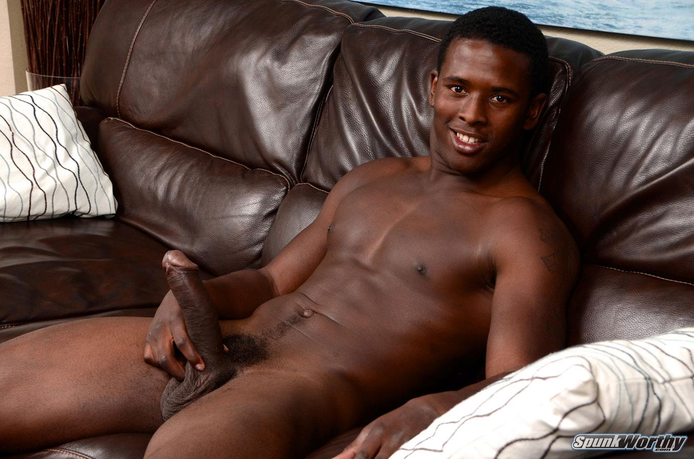 SpunkWorthy-Heath-Naked-College-Football-Player-Stroking-His-Big-Black-Cock-Amateur-Gay-Porn-05 Straight College Football Player Jerking His Big Uncut Black Cock