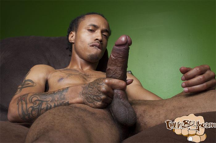 Thug-Boy-Cali-Bandz-Big-Black-Uncut-Cock-Jerk-Off-Amateur-Gay-Porn-40 Thug Boy:  Straight Ghetto Thug Strokes His Big Black Uncut Cock