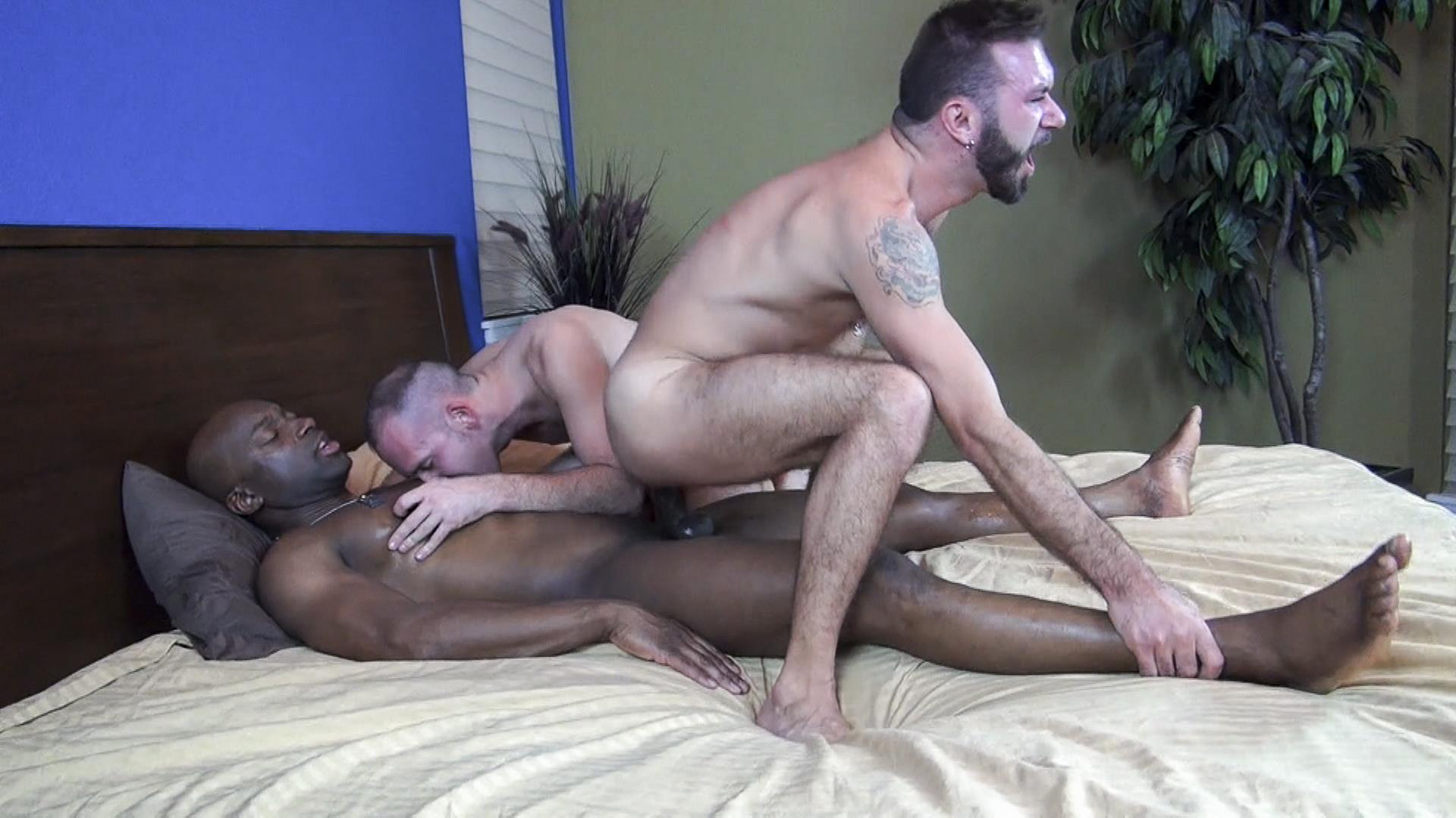 2 black bitches get fucked - Click here to watch this full length interracial bareback threesome gay sex  video and hundreds more amateur gay porn videos at Raw Fuck Club.